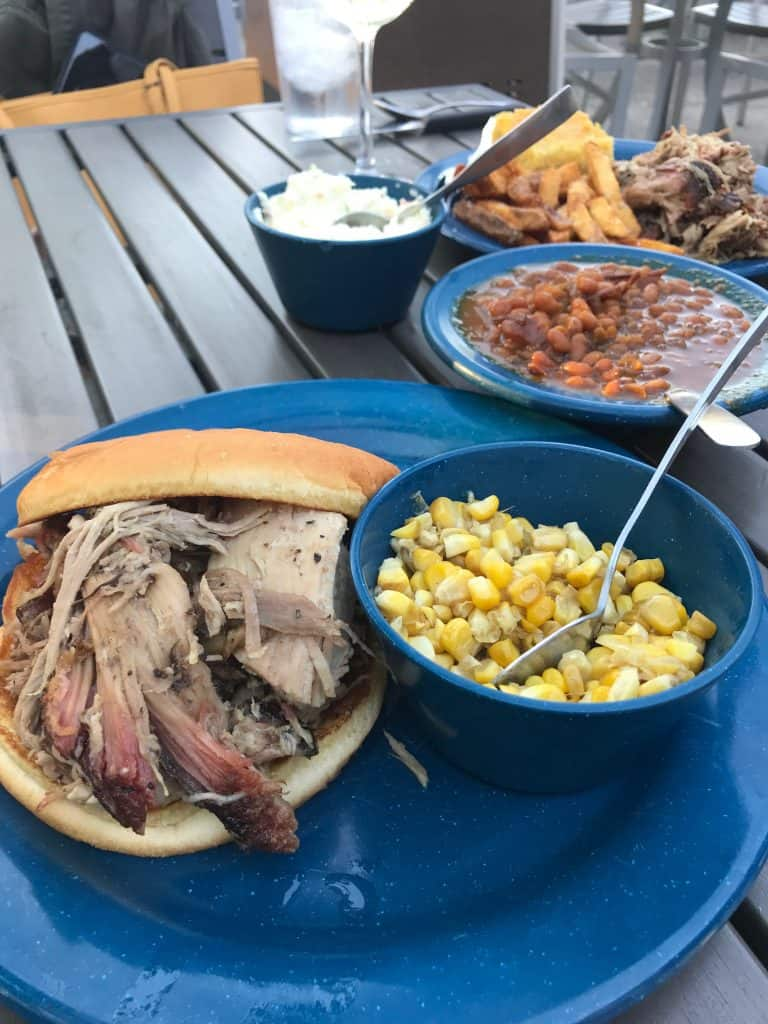 picture of bbq sandwich, corn and baked beans from MOJO BBQ